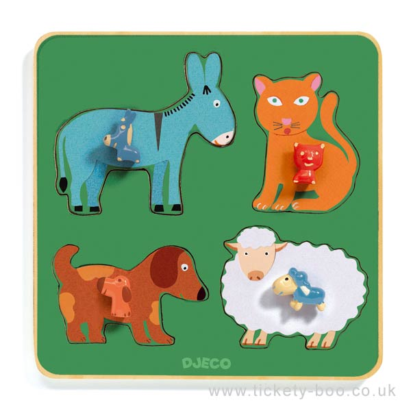 Family Farm Wooden Puzzle By Djeco